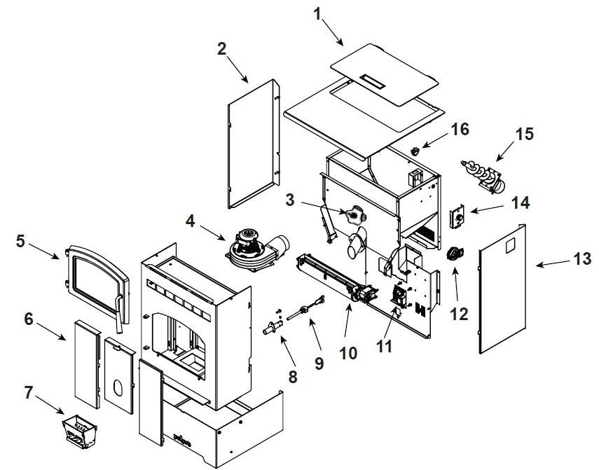 pellet stove parts pelpro pellet parts pp60 parts pp60 parts Laundry Parts Diagram pelpop pp60 pellet